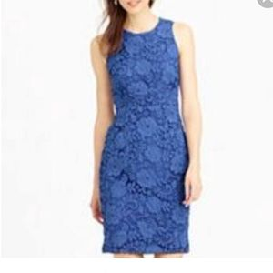 J. Crew Floral Lace Sheath Dress, Royal Blue